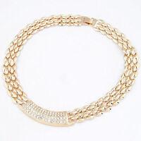 Fashion Womens Crystal Pendant Chunky Choker Statement Collar Necklace Chain