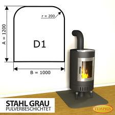 Kaminbodenplatte ✔ Funkenschutz Ofenplatte Ofen ✔ Kaminofenplatte Stahl grau D1