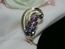 Vtg Gold Coro Pegasus Blue Red Rhinestone Feather Gay Plumage Book Pc Brooch Pin