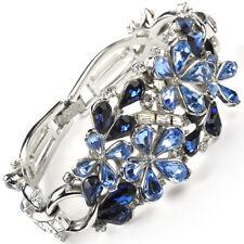 Trifari Philippe Sapphire Blue Topaz Flowers Diamante Baguettes 3 link Bracelet
