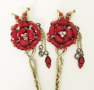 Rose and Butterfly Flower design Hair Stick Hairstick with Rhinestone Accent
