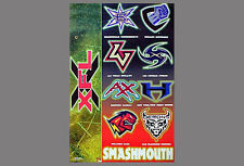 Vintage Original XFL FOOTBALL Smashmouth Team Logos POSTER (2001)