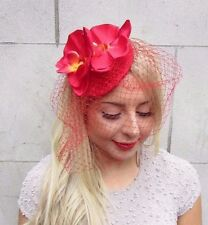 Red Orchid Flower Birdcage Veil Fascinator Races Wedding Pillbox Hat Clip 3289