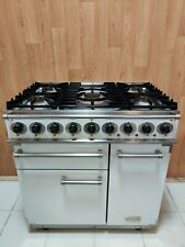 FALCON 90CM DUAL FUEL RANGE COOKER IN WHITE AND CHROME.  REF--A6