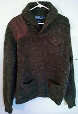 Polo Ralph Lauren Wool Leather Patch Sweater Size Large