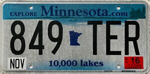 Minnesota.com 10000 Lakes USA License Licence Number Plate Tag 849 TER
