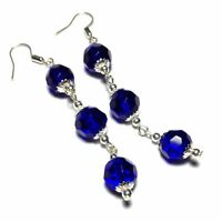 Very Long Blue Earrings Vintage Style Drop, Studs, Clip on or 925 Silver Hooks