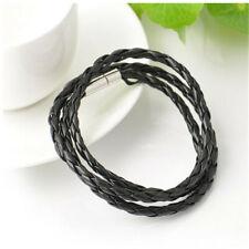 Vintage Mens Womens Black Leather Interlaced Cuff Bangle Wristband Bracelet