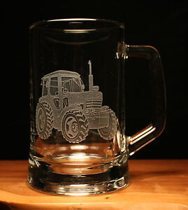 Tractor Farm engraved glass pint tankard gift present