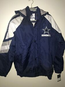NFL STARTER DALLAS COWBOYS REMOVABLE HOODED COAT - SIZE L - NWT - FREE SHIPPING