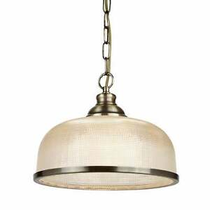 Searchlight Bistro II Antique Brass Pendant with Holophane Glass Shade