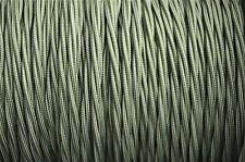 1 meter Cyprus green 3 core hanging light flex wire braided twisted MADE UK B17