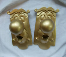 TWO ALICE IN WONDERLAND DOOR KNOB HANGING CHARACTER PROPS GOLD IN COLOUR