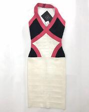 Herve Leger Andie Colorblock Bandage Dress Halter Black Pink White Size XXS NWT
