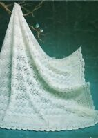 "Baby Shawl Knitting Pattern Heirloom Lace 4ply 44 x 44"" 1144"