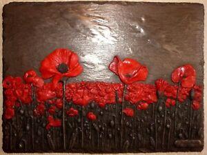 Cold Cast Bronze Poppies Poppy Signed Wall Art Sculpture Plaque - Joel Schofield