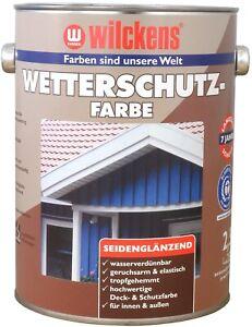 2,5 Liter Wilckens Wetterschutzfarbe Neue Exklusiv-Farbtöne Holzdeckfarbe