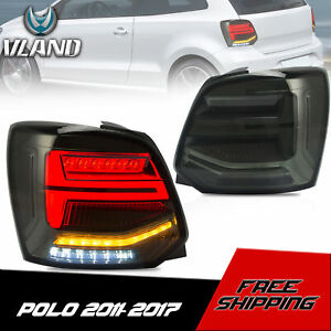 VLAND Smoked LED Sequential Taillights Rear Lamp For 2011-2017 Volkswagen Polo