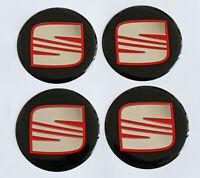 55mm SEAT Felgenaufkleber Aufkleber Sticker Emblem Radkappen Silikon SCHWARZ-ROT