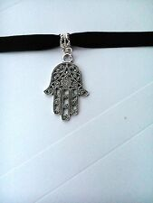 Adjustable Black Velvet Hamsa Hand Choker / necklace silver cross extender