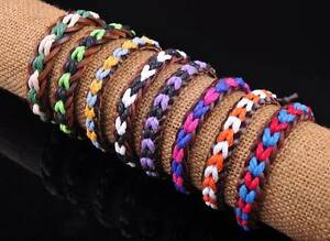 New Surfer Hemp Leather Braided Men's Wristband Bracelet Bangle Multi-Color