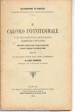 D'Amico CALCOLO INFINITESIMALE E SUE APPLICAZIONI GEOMETRICHE E MECCANICHE ;1912