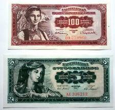 JUGOSLAVIA 5 DINARI DEL 1965 + 100 DINARI DEL 1955 - CONDIZIONI qSUP / SPL