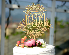 Personalized Wedding Cake Topper Made of Wood and Painted in Metallic Gold 145