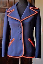 1960 Vintage Lilli Ann Knit 4 PC Suit Blue Orange Red Trim Coat Skirt Pants Belt