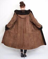 US443 Women Fur sheepskin shearling lambskin Coat hood Jacket Lammfell  ca. L