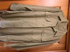WW II Army Brown Wool Shirt with Gas Flaps Size 151/2-33