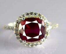 Natural 5.56 Ct Burma Red Ruby 925 Silver Ring Ideal Gift For Wife, Partner