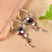 Women Korean Rhinestone Pearl Crystal Flower Dangle Stud Earrings Jewelry Gift