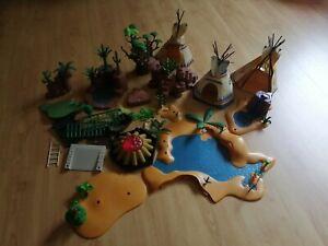 Riesen Playmobil Konvolut Wildwest Indianer Pferde Cowboy Tiere Afrika Zubehör
