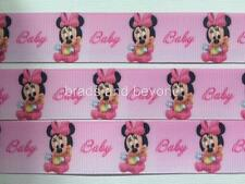 "BB Ribbon BABY GIRL MINNIE MOUSE PINK 2m grosgrain 1"" 25mm"