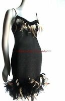 Black Stretch Lace Chemise Party Dress Feathers Shirley of Hollywood M L D497