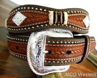 Nocona Western Mens Belt Leather Scallop Overlay Conchos Studded Copper N2508808