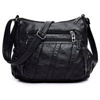 Moda Mujeres Bolso Cruzados Bolsa Negro Suave Cuero Lavado Bolso de Hombro  P8E4