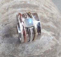 Rainbow Moonstone Solid 925 Sterling Silver Spinner Ring statement ring Size 07