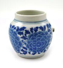 Vintage Porcelain Handmade Hand paint Bird feeder cage Flower Blue and White B/W