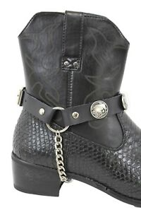 Men / Women Boot Bracelet Silver Chain Black Pair Leather Strap Buffalo Bull
