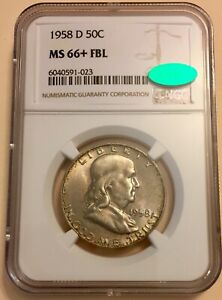 1958 D 50C SILVER FRANKLIN NGC CAC MS66+ FBL