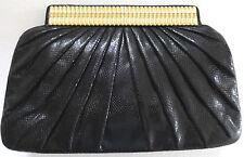 Judith Leiber Exquisite vintage 70's Black karung Lizard Snake lagarto Clutch Bag
