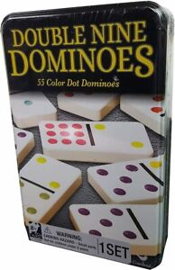 Cardinal Games Double Nine Dominoes 55 Color Dot In Tin