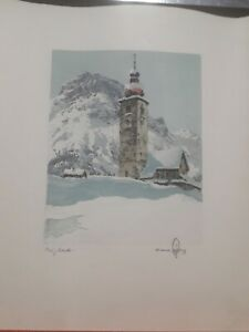 old colors etching serigraph  landscape - Hans Figura (Canada)