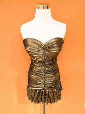 BEBE GOLD STRAPLESS MINI EVENING COCKTAIL PARTY DRESS NEW  SZ XS