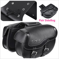 2X Black Motor PU Leather Side Saddlebag Luggage Saddle Bag for Honda SUZUKI BWM