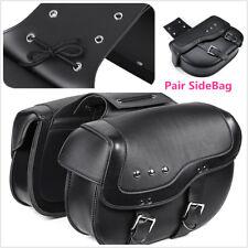 2X Black Motor PU Leather Side Saddlebag Luggage Saddle Bag for Honda SUZUKI BWM