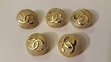 Chanel CC Logo Replacement Metal Gold Buttons 0.85 inch (22mm) Set of 5