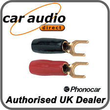 Phonocar 4/218.1 4 Gauge AWG 6.5mm Gold Plated Fork Terminals Red Black 2 Pieces